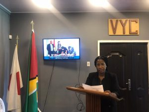 Ms. Goldie Scott provides an overview of the project and VYC's activities